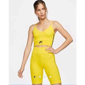 Nike Yellow Air Jordan Ripped Bike Shorts & Crop Top Matching Set Athleisure Gym